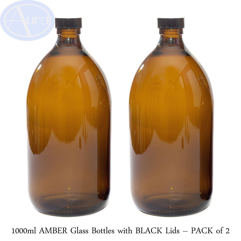 Botellas de cristal ámbar de 1000 ml con tapas negras - Paquete de 2: Amazon.es: Belleza
