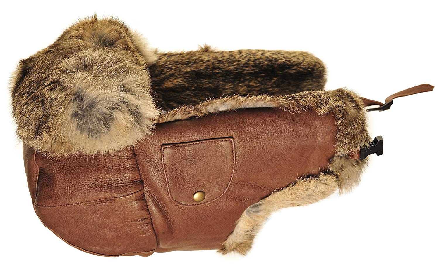 Leather Bomber Hat w/ Brown Fur