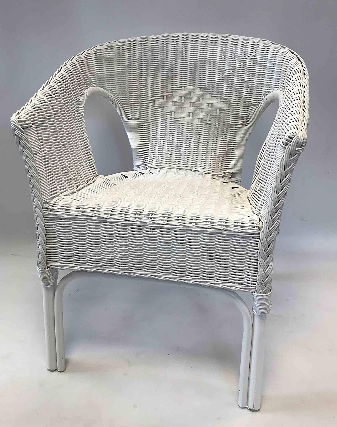 Home-Ever Rattan Armchair For Conservatory, Bedroom, Nursery (White)