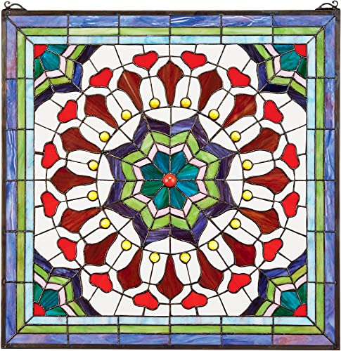 Design Toscano Victorian Tiffany-Style Stained Glass Window, Red Rainbow Floral