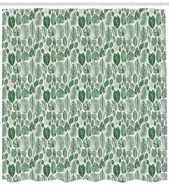 84 inches Extra Long Cloth Fabric Bathroom Decor Set with Hooks Ambesonne Geometric Shower Curtain Seafoam White Fish Scale Pattern Half Circles Dots Geometric Arrangement Circular Motifs