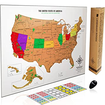 Amazoncom Scratch Off USA Map With National Parks Capitals - Usa maps and capitals