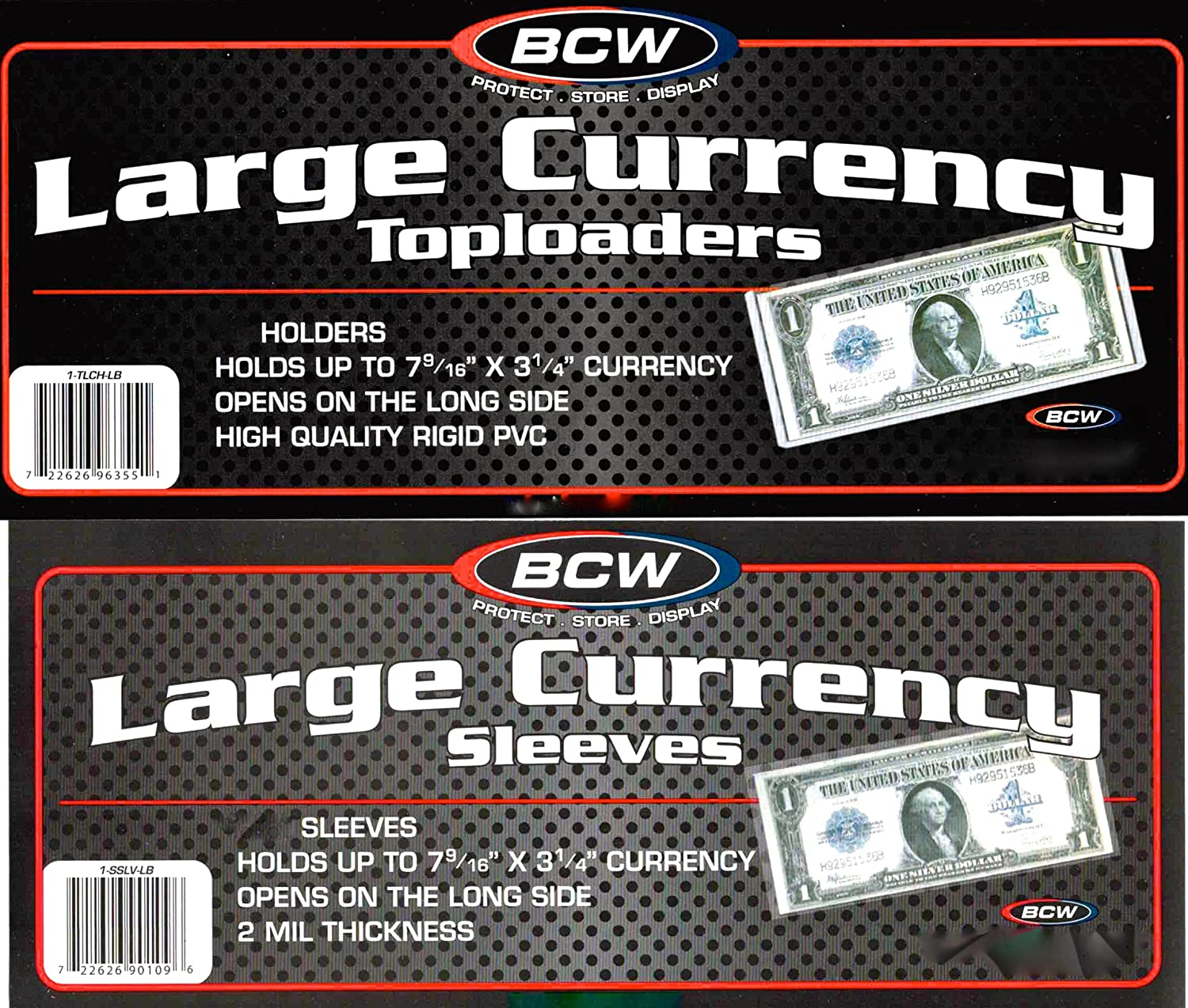 10 Top Load Currency Rigid Holders for Large Bills Including 10 Large Bill Sleeves