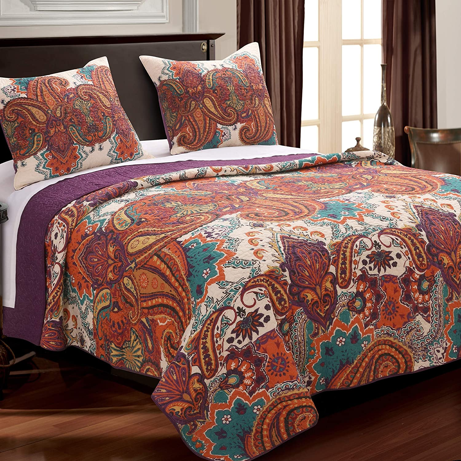 Greenland Home Nirvana Quilt Set, Full/Queen, Spice
