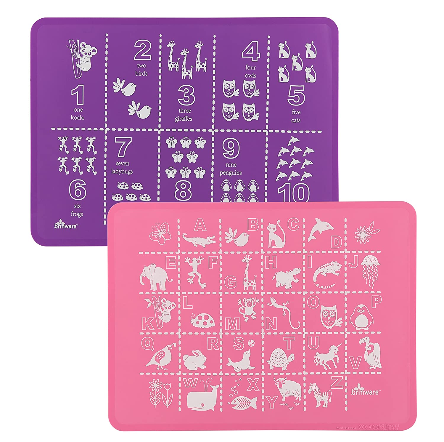 Brinware Placemat Set 2 Pack - ABC 123 Pink/Purple BRINPMPP