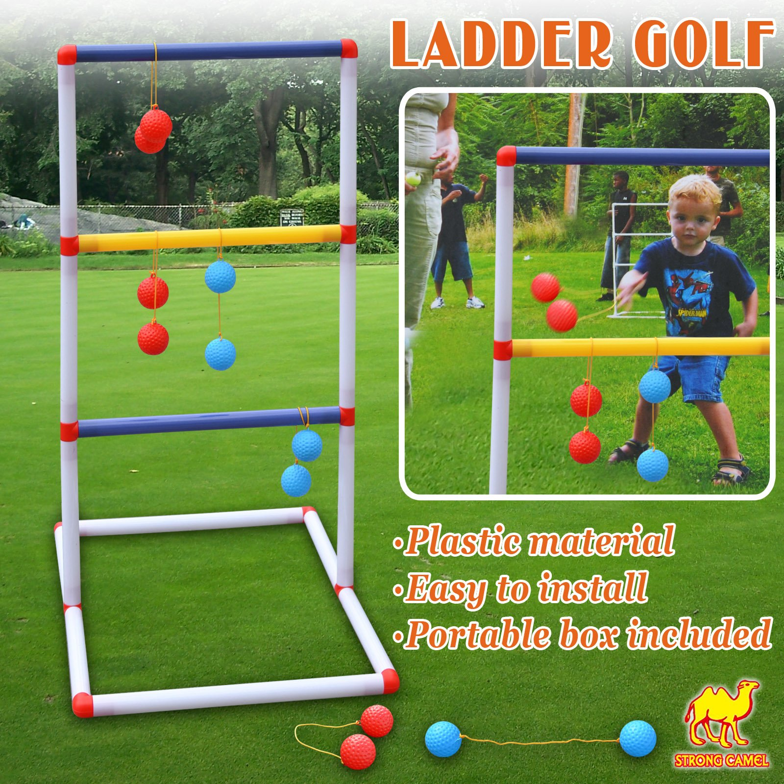 Strong Camel Ladder Toss Game Set Golf Backyard Family Games with 6 Bolos Kids Child Sports Ladderball Adults by Strong Camel