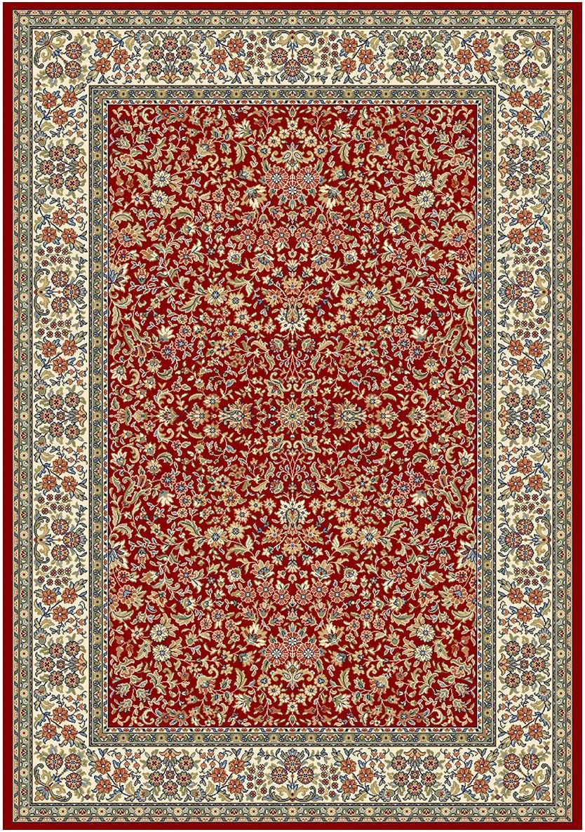 """Dynamic Rugs Ancient Garden 57078-1414 Rug, 6'7"""" by 9'6"""", Red/Ivory"""