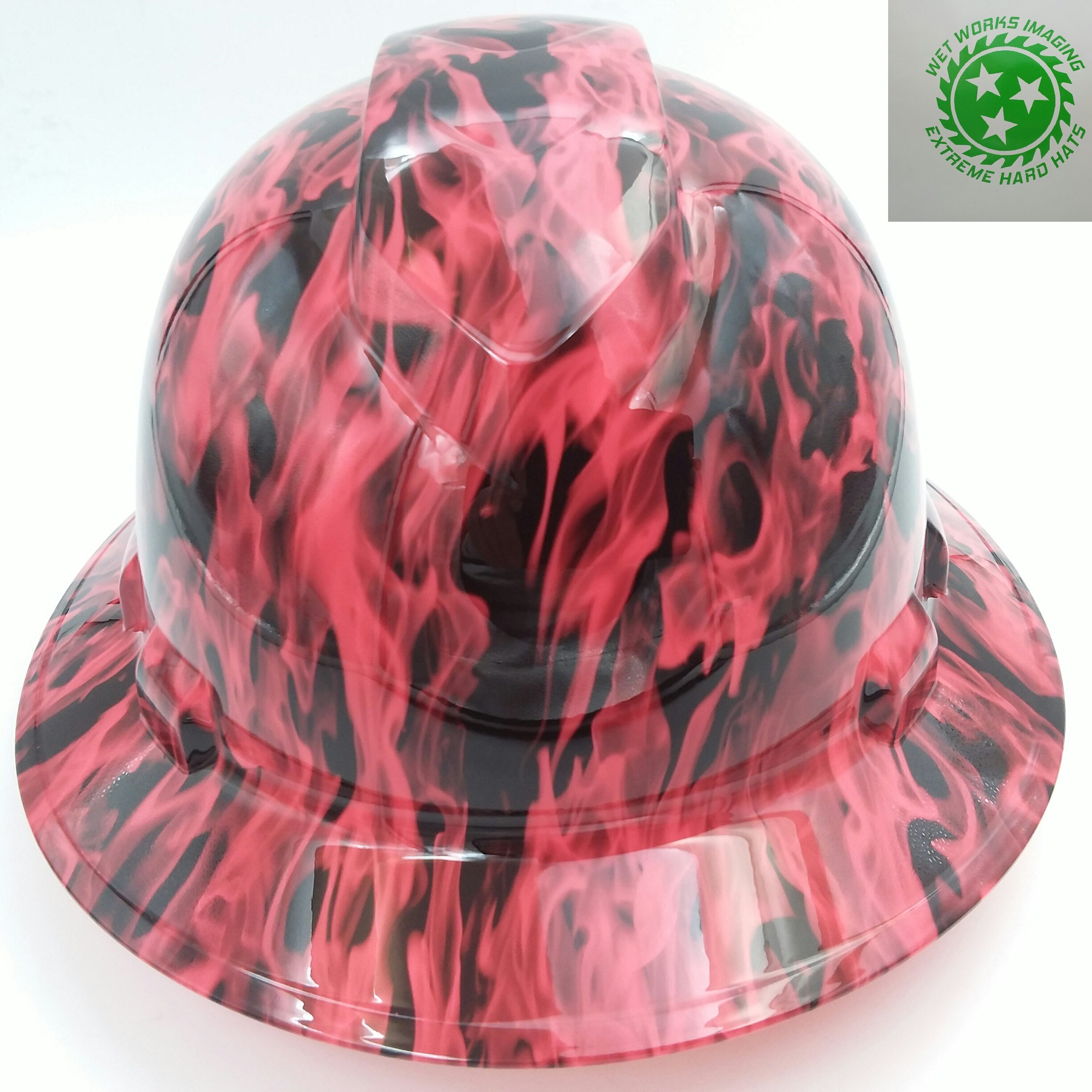 Wet Works Imaging Customized Pyramex Full Brim Hi Vis Pink Wicked Fire Hard Hat With Ratcheting Suspension