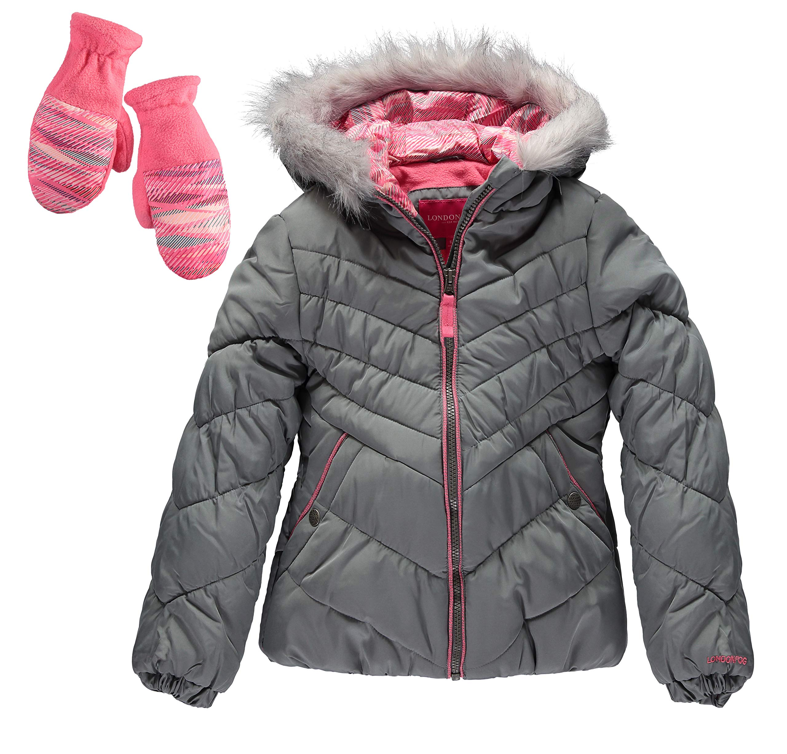 London Fog Girls' Big Quilted Puffer Jacket with Mittens (14/16, Grey Chevron) by London Fog