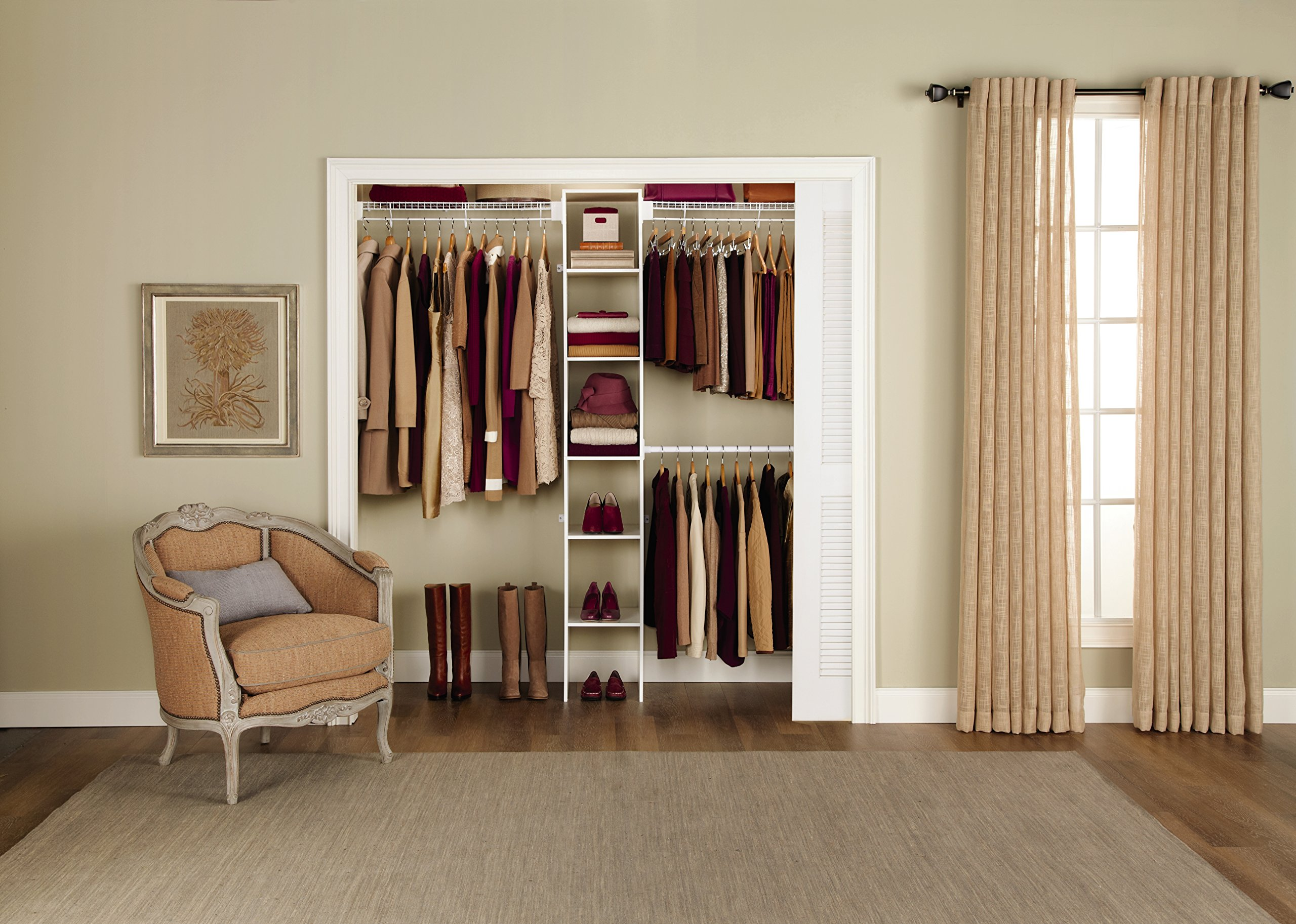 Rubbermaid FastTrack FreeSlide Expandable Closet Organizer, 5 to 8 feet (85710) by Rubbermaid