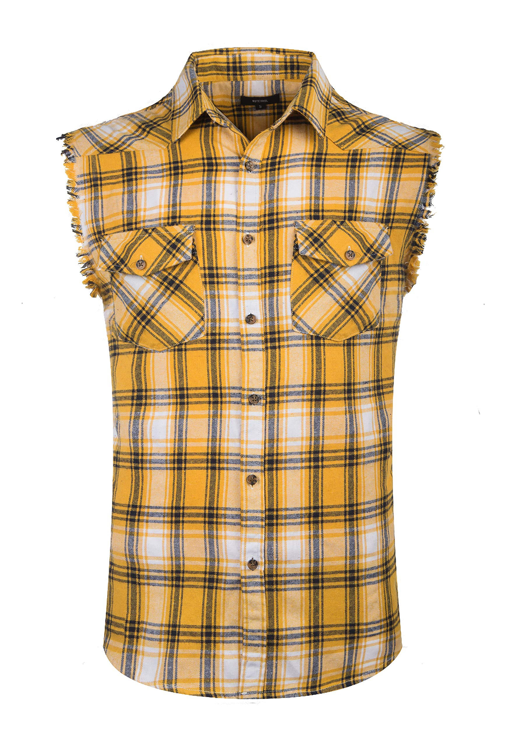 NUTEXROL Men's Casual Flannel Plaid Shirt Sleeveless Cotton Plus Size Vest Yellow M by NUTEXROL