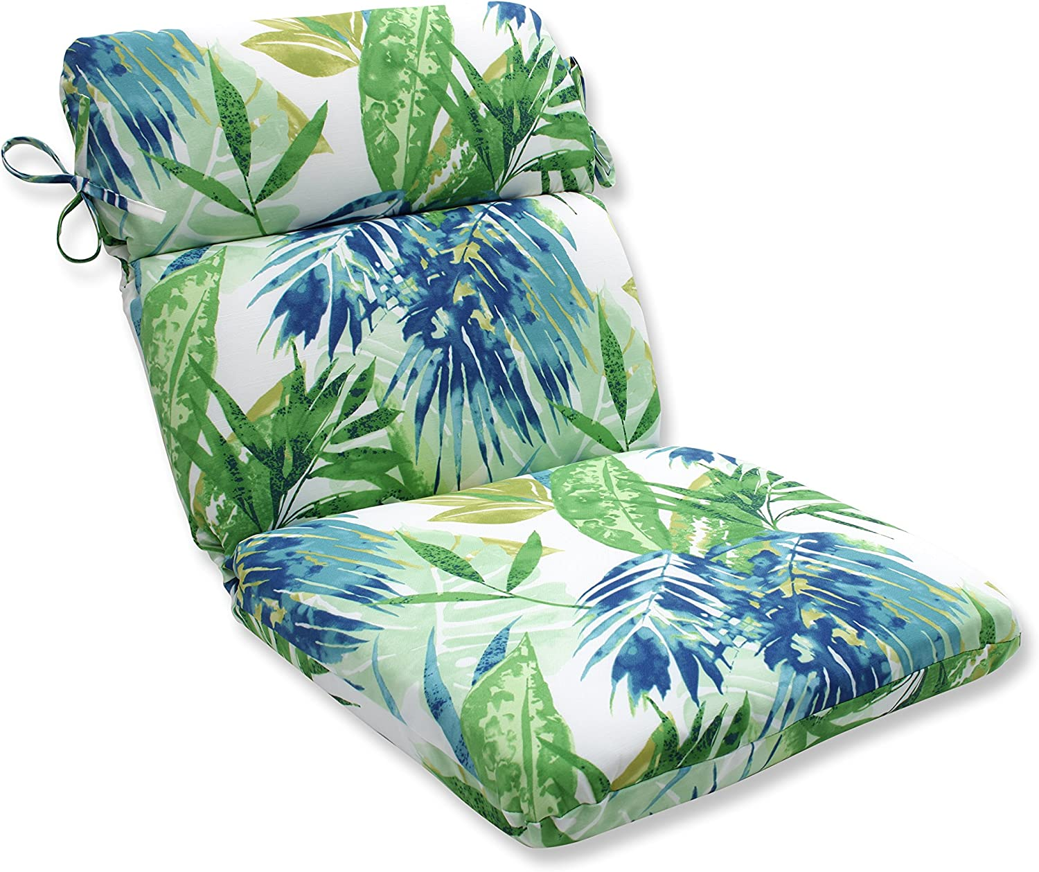 Pillow Perfect Outdoor/Indoor Soleil Rounded Corners Chair Cushion, Blue/Green
