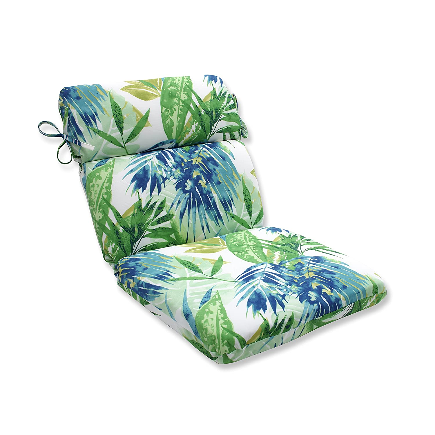 Pillow Perfect Outdoor Indoor Soleil Rounded Corners Chair Cushion, Blue Green