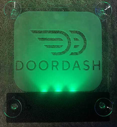 DoorDash Sign Glow LED Light Logo Removable Car Driver Window Decal Sticker  w Rechargeable Batteries - Taxi Rideshare Accessories Bundle