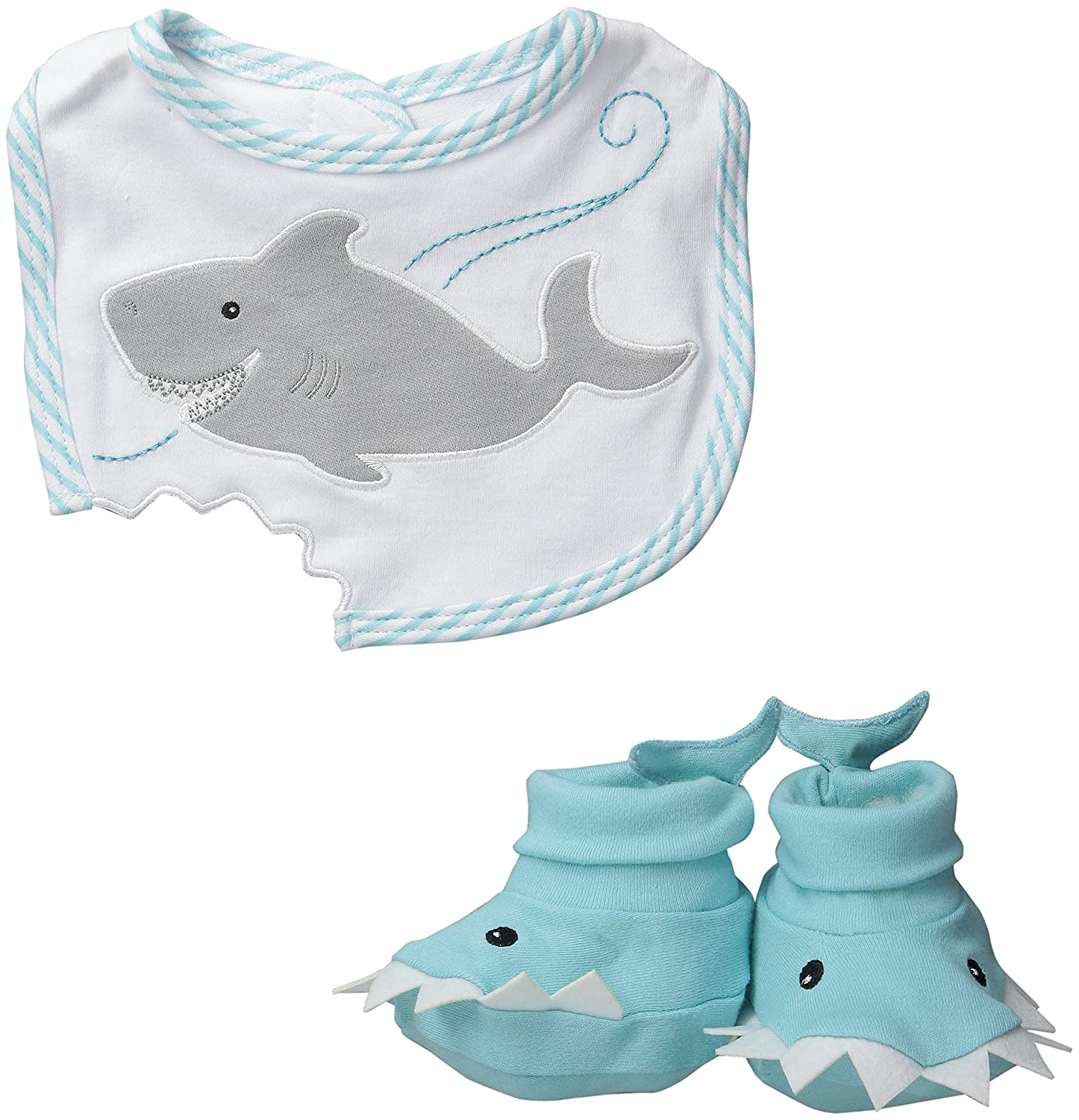 Baby Aspen Bib and Booties Gift Set, Chomp and Stomp Shark BA15030BL