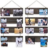 brightmaison Living Room Decorative Vertical Photo Display Clip Board Wood Walnut 26 Inch Set of 2