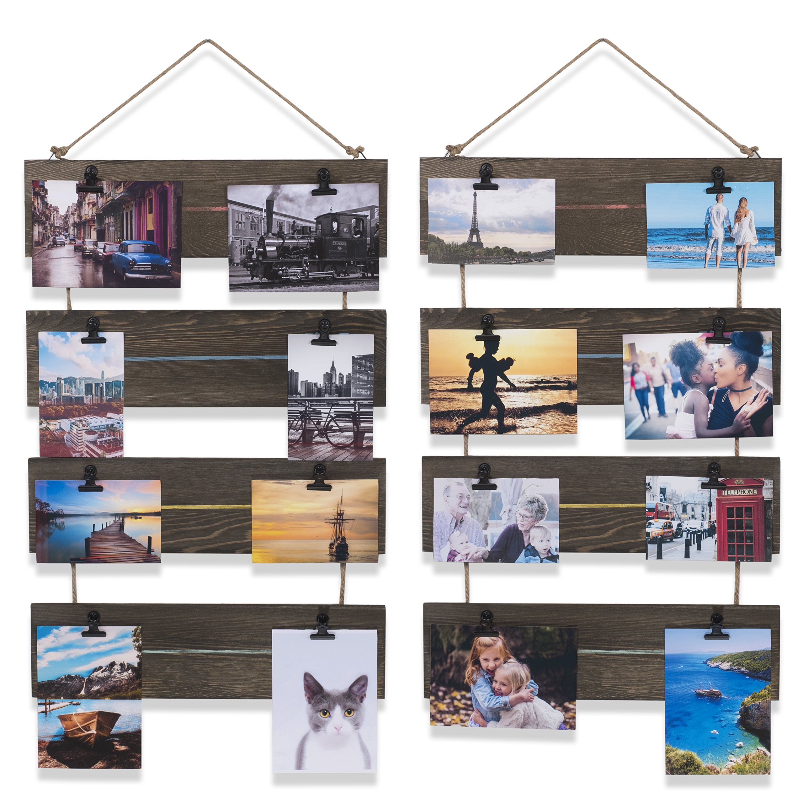 Living Room Decorative Vertical Photo Display Clip Board Wood Walnut 26 Inch Set of 2