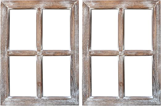 Amazon Com Barnyard Designs Rustic Barn Wood Window Frames Decorative Country Farmhouse Home Wall Decor Wooden Window Pane For Living Room Bedroom Or Fireplace Mantel 18 X 24 2 Pack
