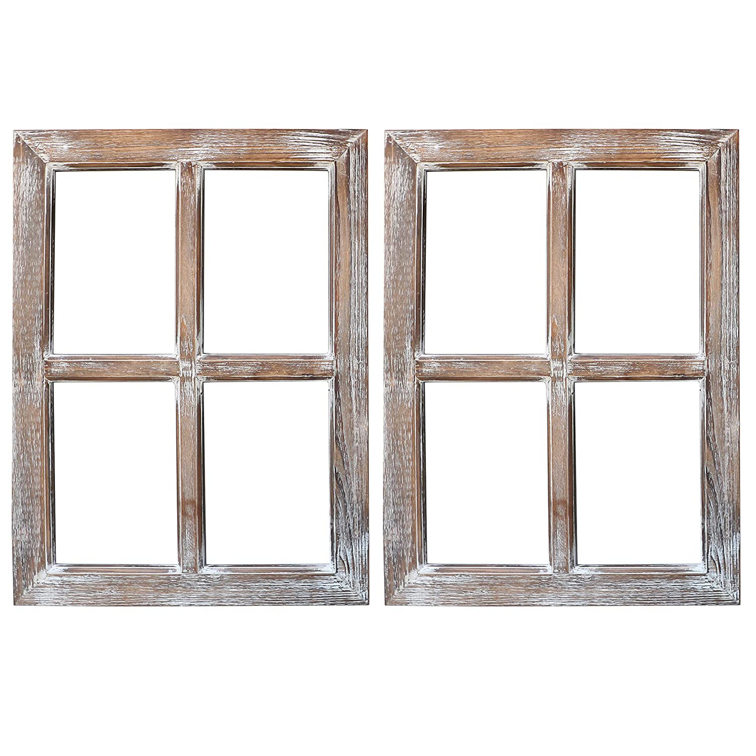 "Barnyard Designs Rustic Window Barnwood Frame Primitive Country Farmhouse Wall Decor 18"" x 24"" (2-Pack)"