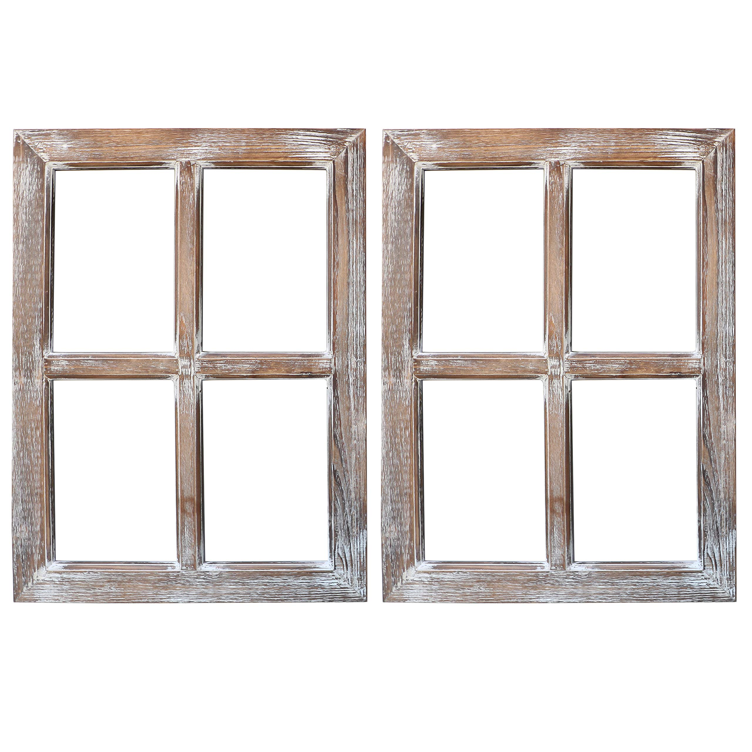 Barnyard Designs Rustic Window Barnwood Frame Primitive Country Farmhouse Wall Decor 18'' x 24'' (2-Pack) by Barnyard Designs