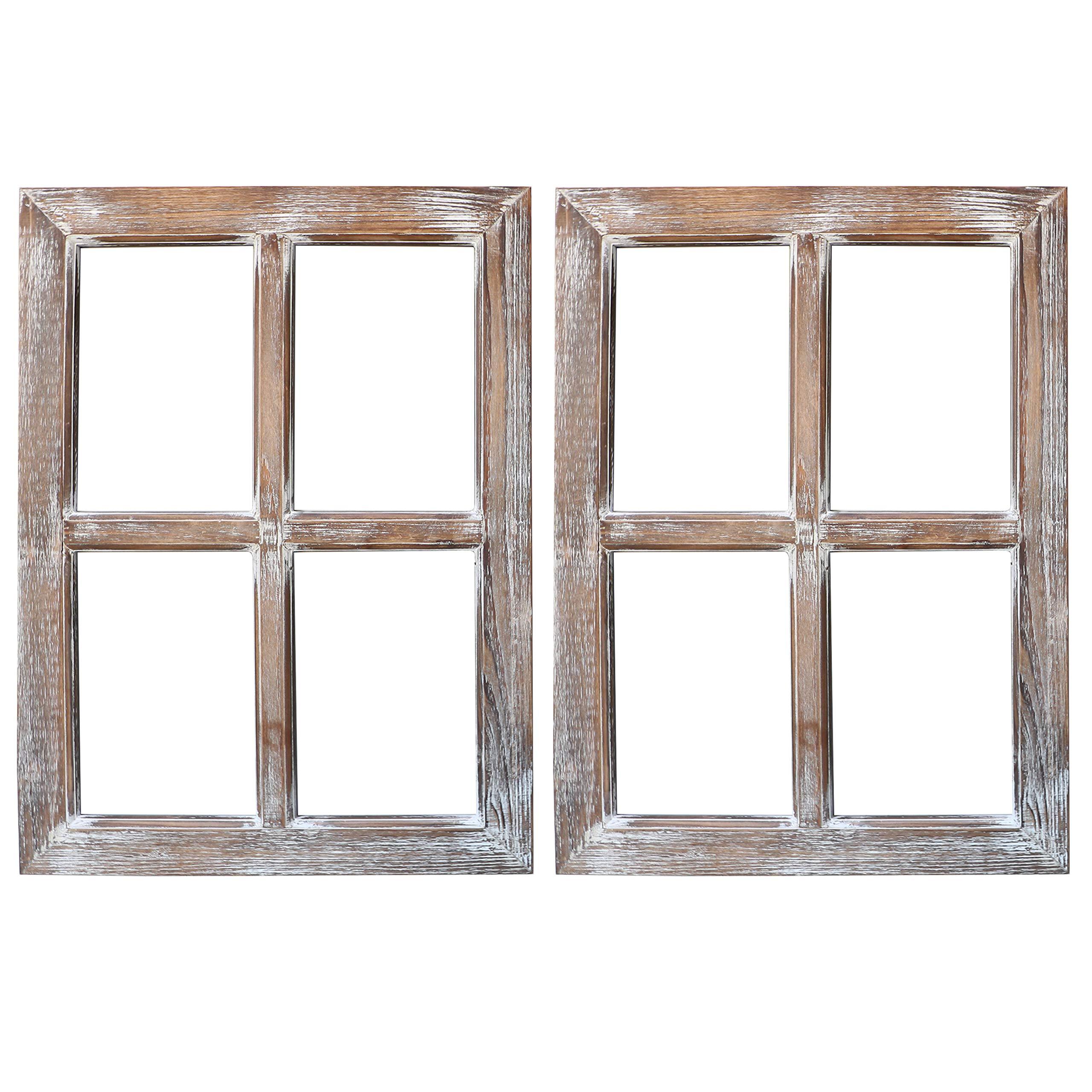 Barnyard Designs Rustic Window Barnwood Frame Primitive Country Farmhouse Wall Decor 18'' x 24'' (2-Pack)
