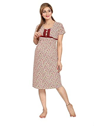 8b7d081a3f064 AV2 Women's Cotton Maternity and Feeding Nighty: Amazon.in: Clothing &  Accessories
