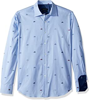 ac1cbeff27b Bugatchi Men s Fitted Long Sleeve Conversational Pattern Point Collar Button  Down Shirt