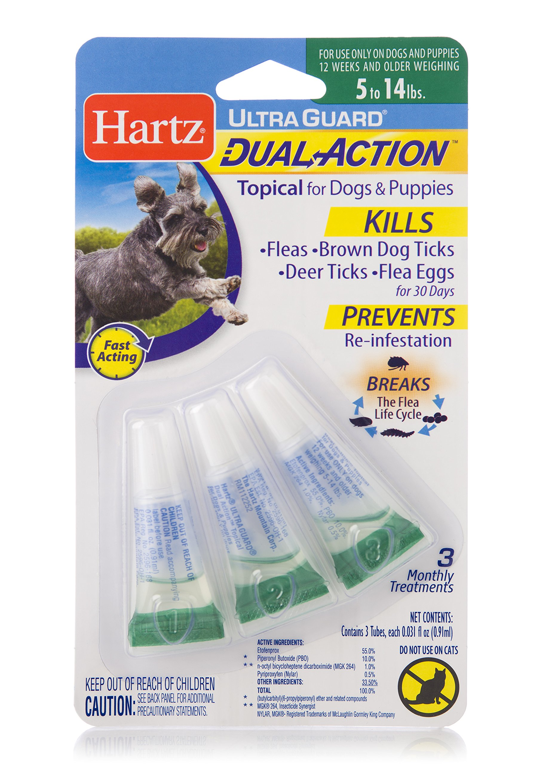 HARTZ Ultra Guard Dual Action Drops for Dogs & Puppies, 5-14 lbs