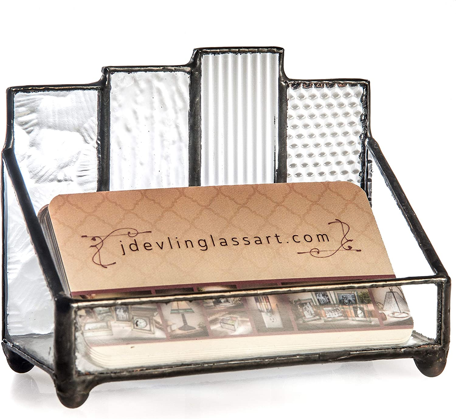 Business Card Holder Desk Organizer Office Décor Mens Womens Decorative Display Clear Stained Glass Gift for Boss Co-Worker Secretary J Devlin Crd 110