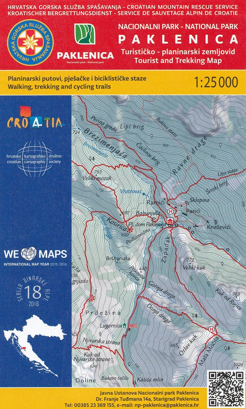 Paklenica NP (Croatia) 1:25 000 hiking map pdf epub