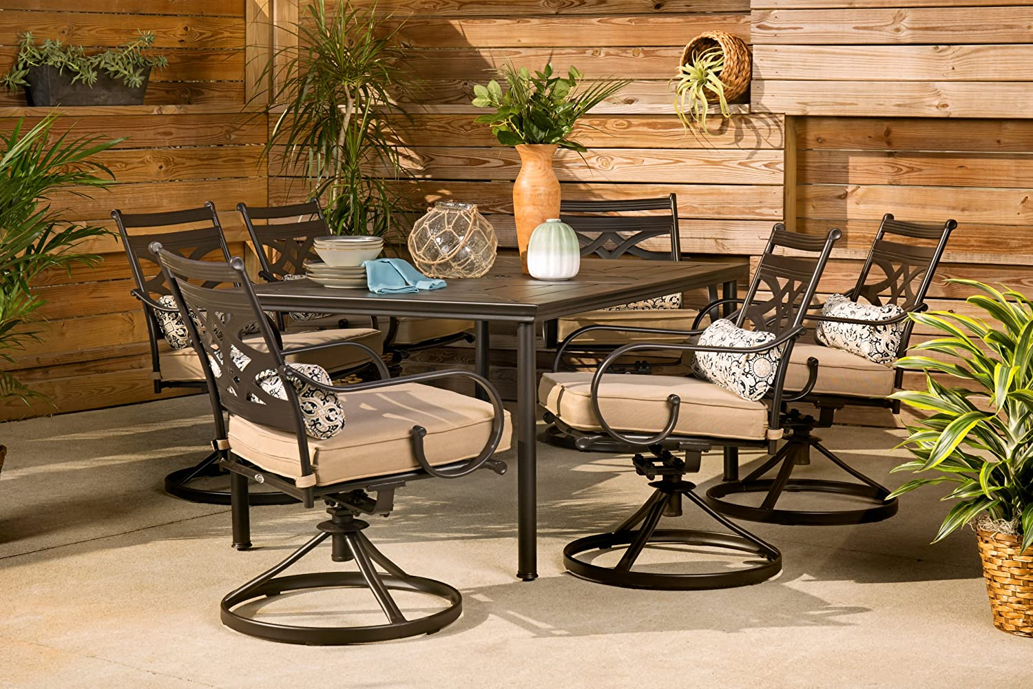 Amazon.com: Hanover Patio Montclair 7-Piece Dining Set in Country Cork with  6 Swivel Rockers, MCLRDN7PCSQSW6-TAN Outdoor Furniture, Tan: Garden &  Outdoor - Amazon.com: Hanover Patio Montclair 7-Piece Dining Set In Country