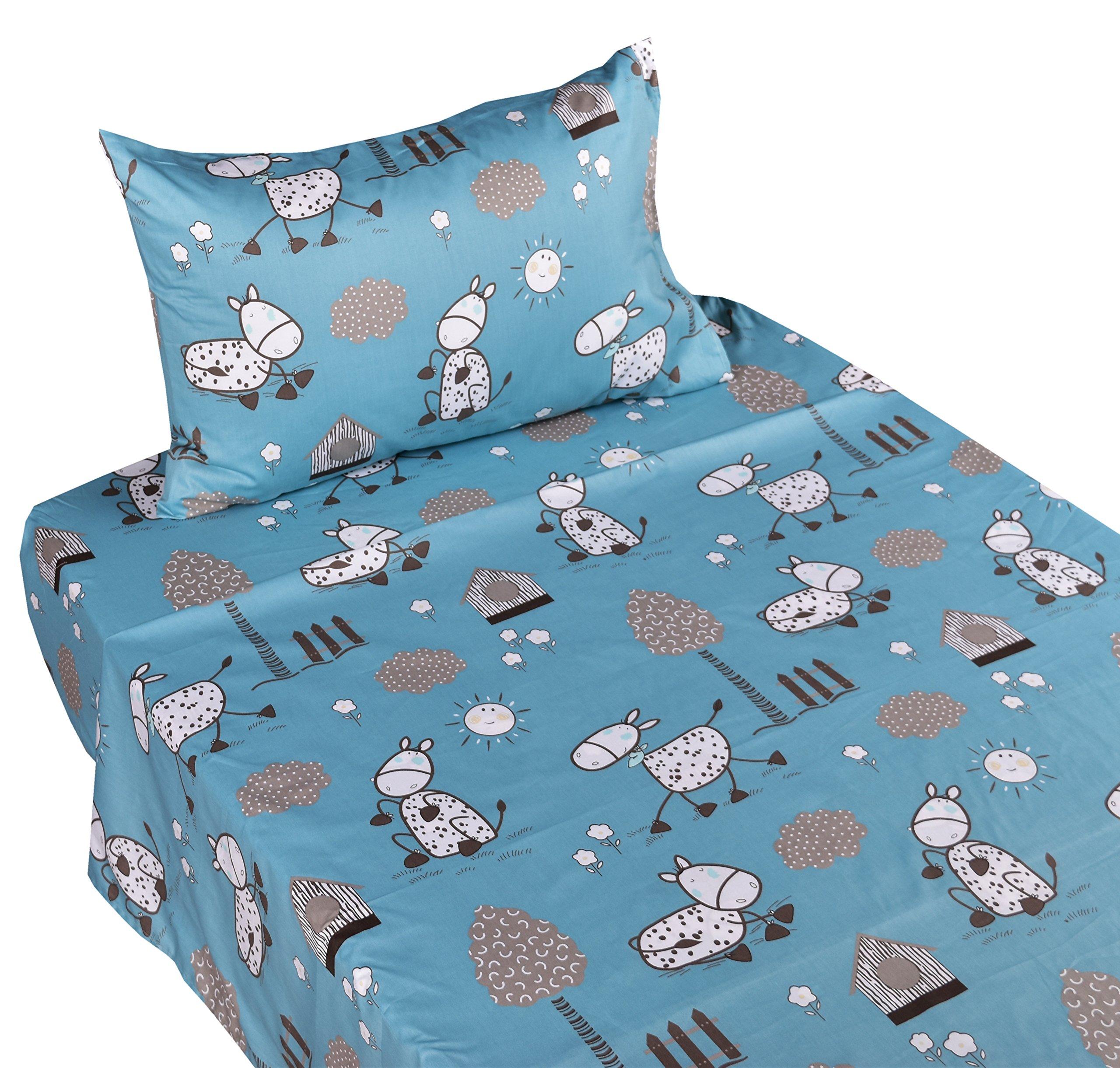 J-pinno Happy Donkey or Sheep Twin Sheet Set for Kids Boy Children,100% Cotton, Flat Sheet + Fitted Sheet + Pillowcase Bedding Set