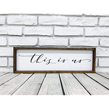 This Is Us Wood Sign, Family Wall Decor Farmhouse Decor Wooden Wall Art 7.5  x 23.5  with 1  Walnut wood frame