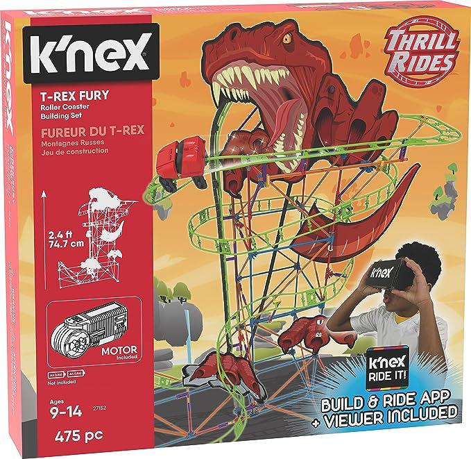 KNex 27152 Thrill Rides, Juego de construcción de montaña Rusa T-Rex Fury, a Partir de 9 años, Juguete de construcción de Realidad Virtual, 478 Piezas: Amazon.es: Juguetes y juegos
