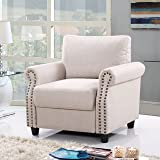 Classic Living Room Linen Armchair with Nailhead Trim and Storage Space (Beige)