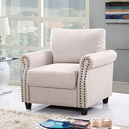 Divano Roma Furniture Classic Living Room Linen Armchair Nailhead Trim Storage Space (Beige)