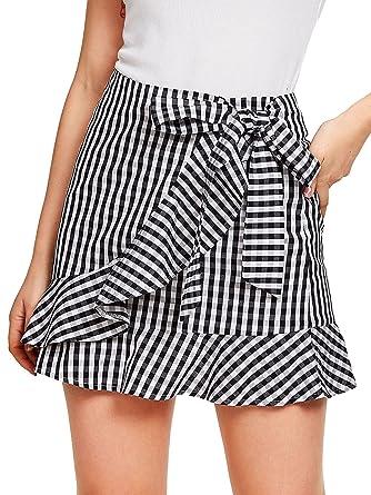 baa01e944 SheIn Women's Cute Ruffle Hem High Waist Bow Knot Plaid Mini Skirt  Black&White ...