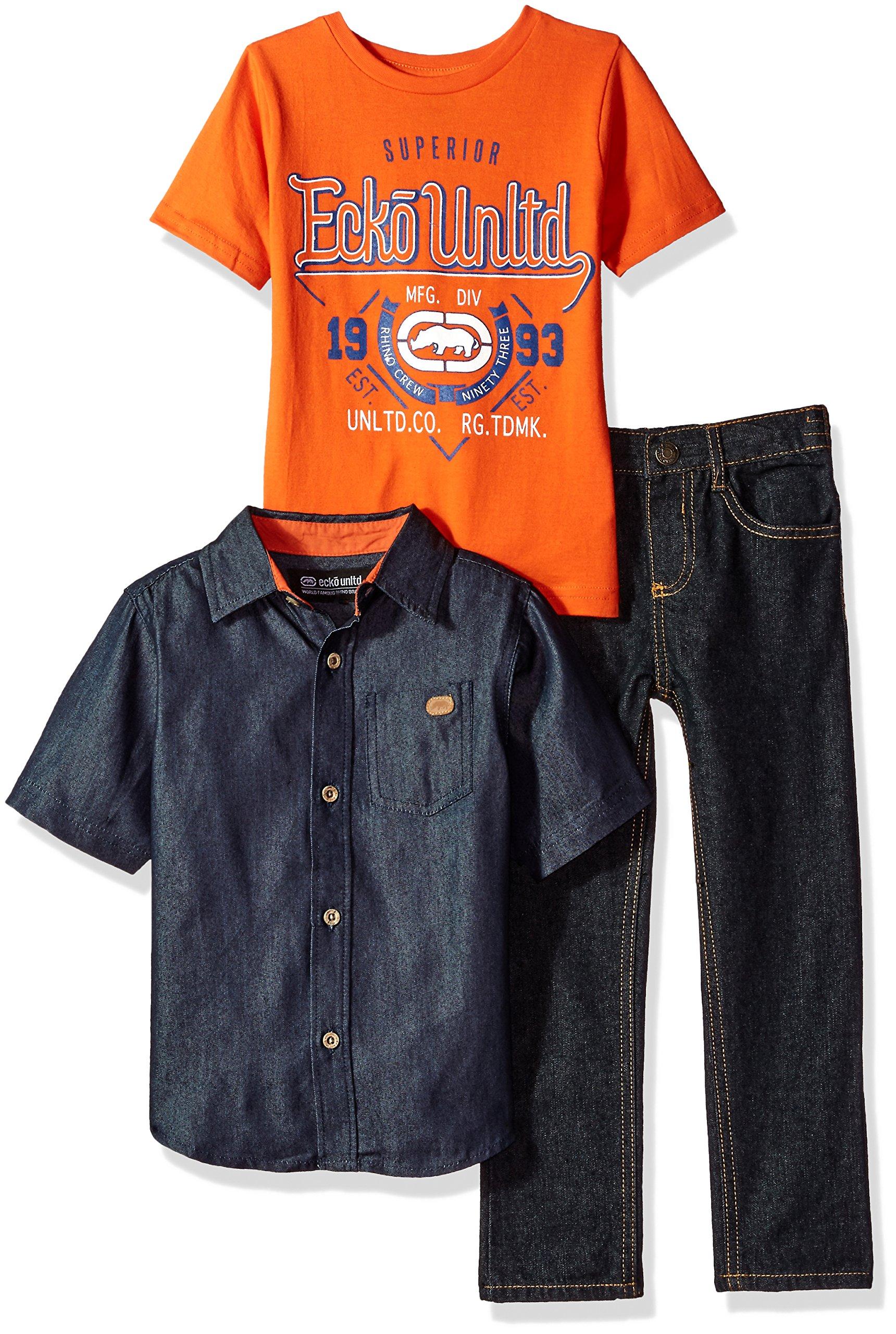 Ecko Unltd. Little Boys' Short Sleeve Shirt, T-Shirt and Pant Set (More Styles), SN91-Multicolor Plaid, 5