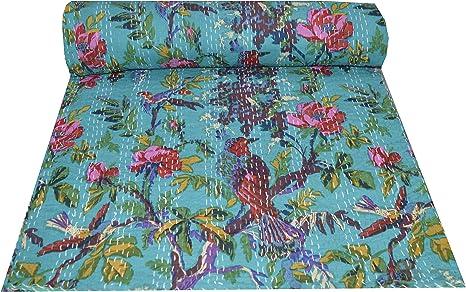 Parrot Green Kantha Blanket in Queen Size Bohemian Kantha Quilt Bedding Cotton Kantha Bedspread Coverlet