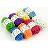 8 Acrylic Yarn Bonbons - 3 Ebooks Included - Crafts Kit for Crochet and Knitting - Resealable Bag - Hobby Yarn - Great Gift