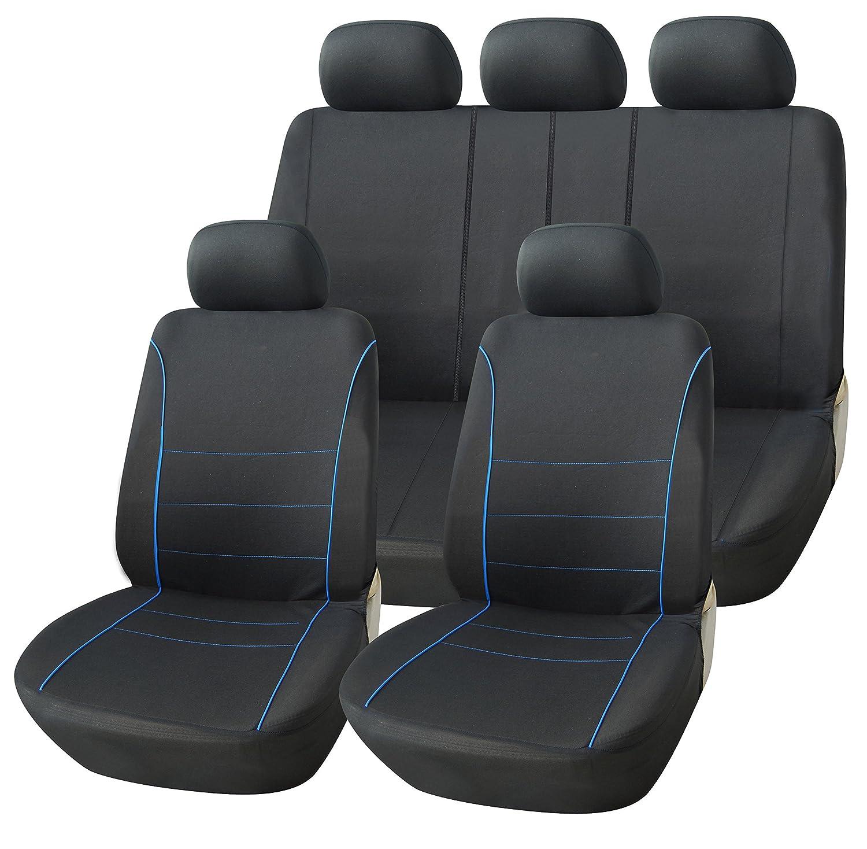 RHINO AUTO Rhino Automotive© Luxury Full Set Seat Cover Set Black & Blue Piping RW0347 RHINO AUTOMOTIVIE