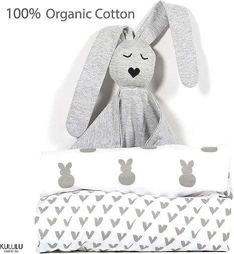Sábanas de cuna 100% algodón orgánico + Lovey (2 + 1 paquete) G.O.T.S. Certificado – se adapta a colchones estándar de cuna y bebé 52 x 28 x 9 pulgadas – Unisex: Amazon.es: Bebé