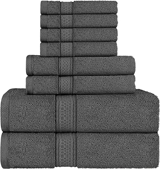 Utopia Towels Luxurious 700 GSM Thick 8 Piece Towel Set Grey; 2 Bath Towels 2 4