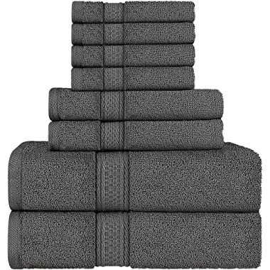 Utopia Towels 8 Piece Towel Set, Grey, 2 Bath Towels, 2 Hand Towels, and 4 Washcloths