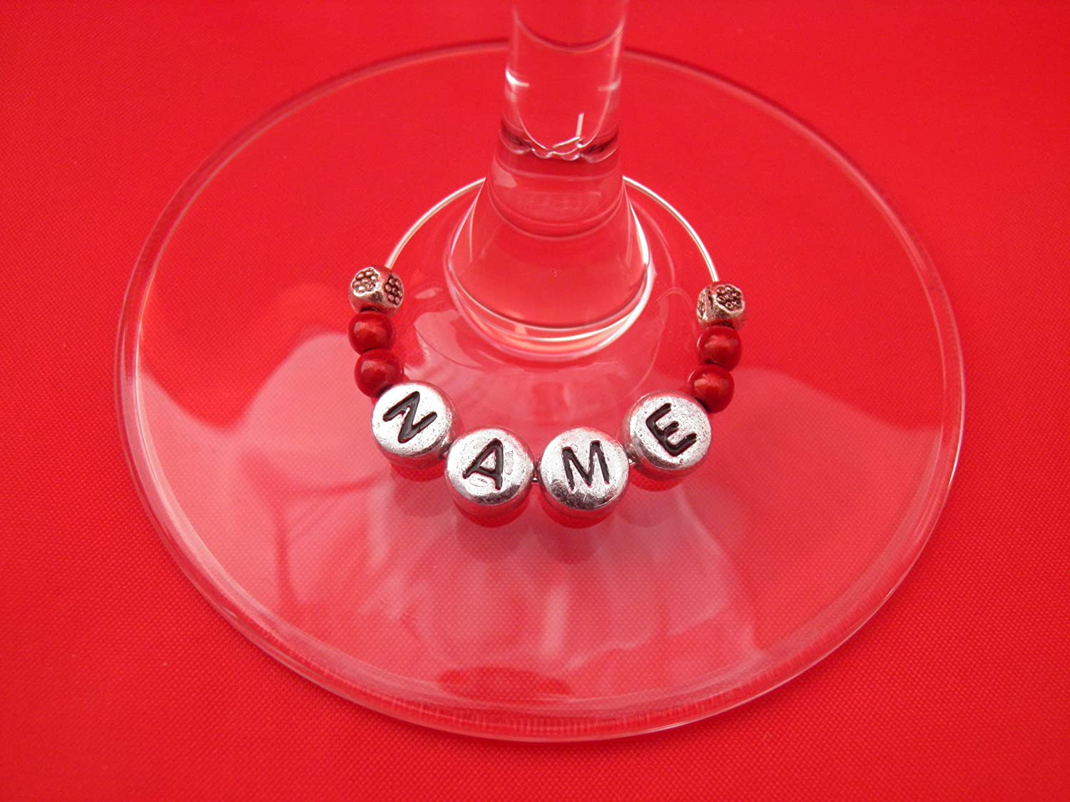 Personalised Name Wine Glass Charm with Flowers by Libbys Market Place