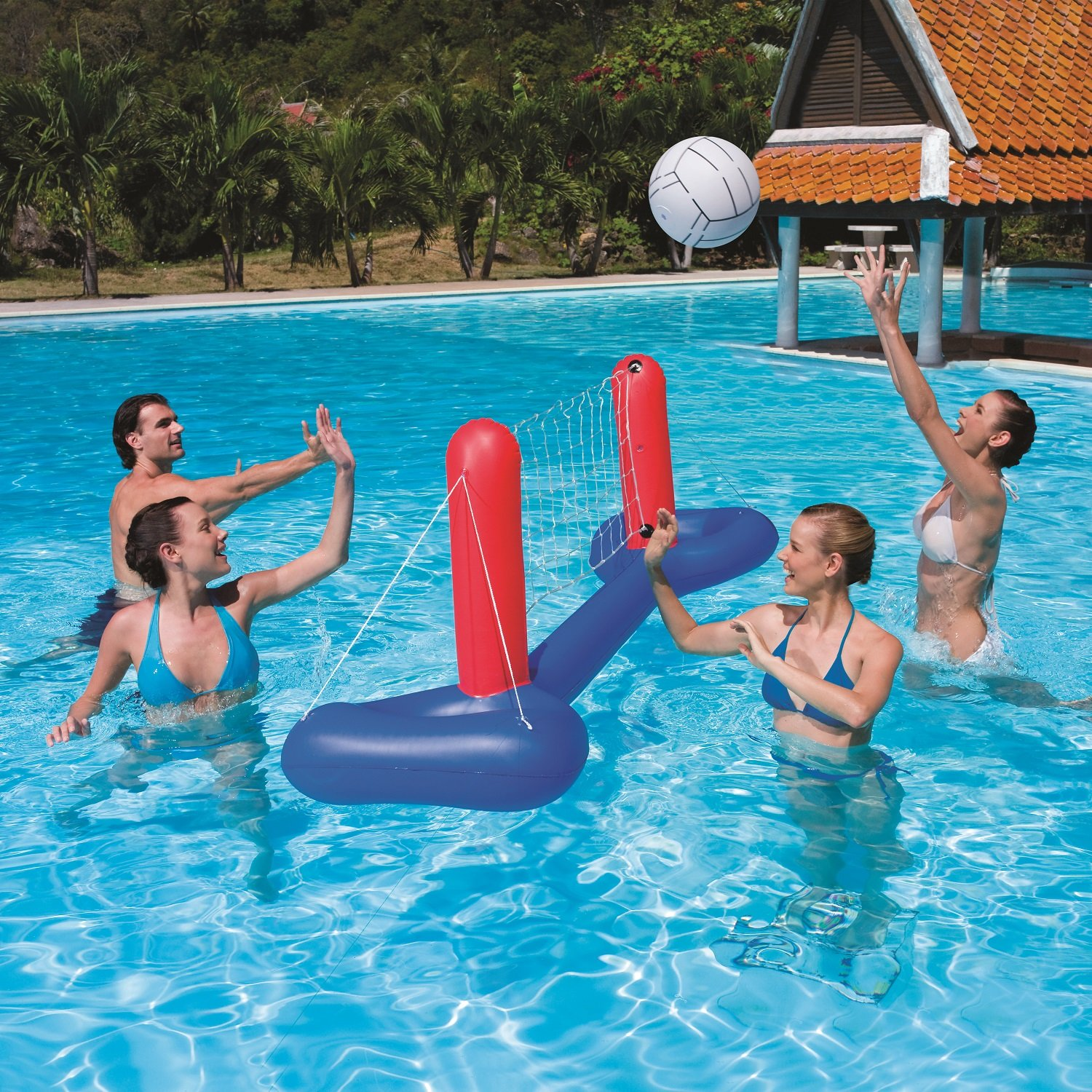 Details about Inflatable Cross Inground Swimming Pool Fun Volleyball Nylon  Net Game Water Set