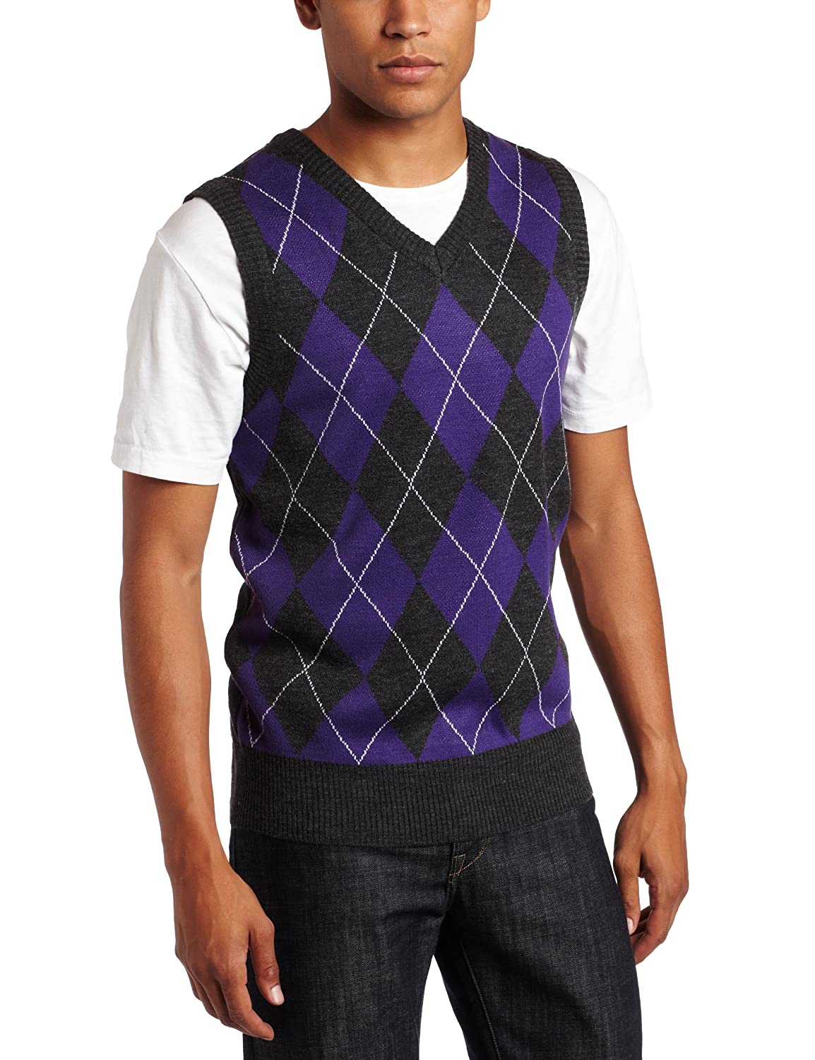 Amazon.com: Southpole Men's Argyle Sweater Vest, Purple, Medium ...