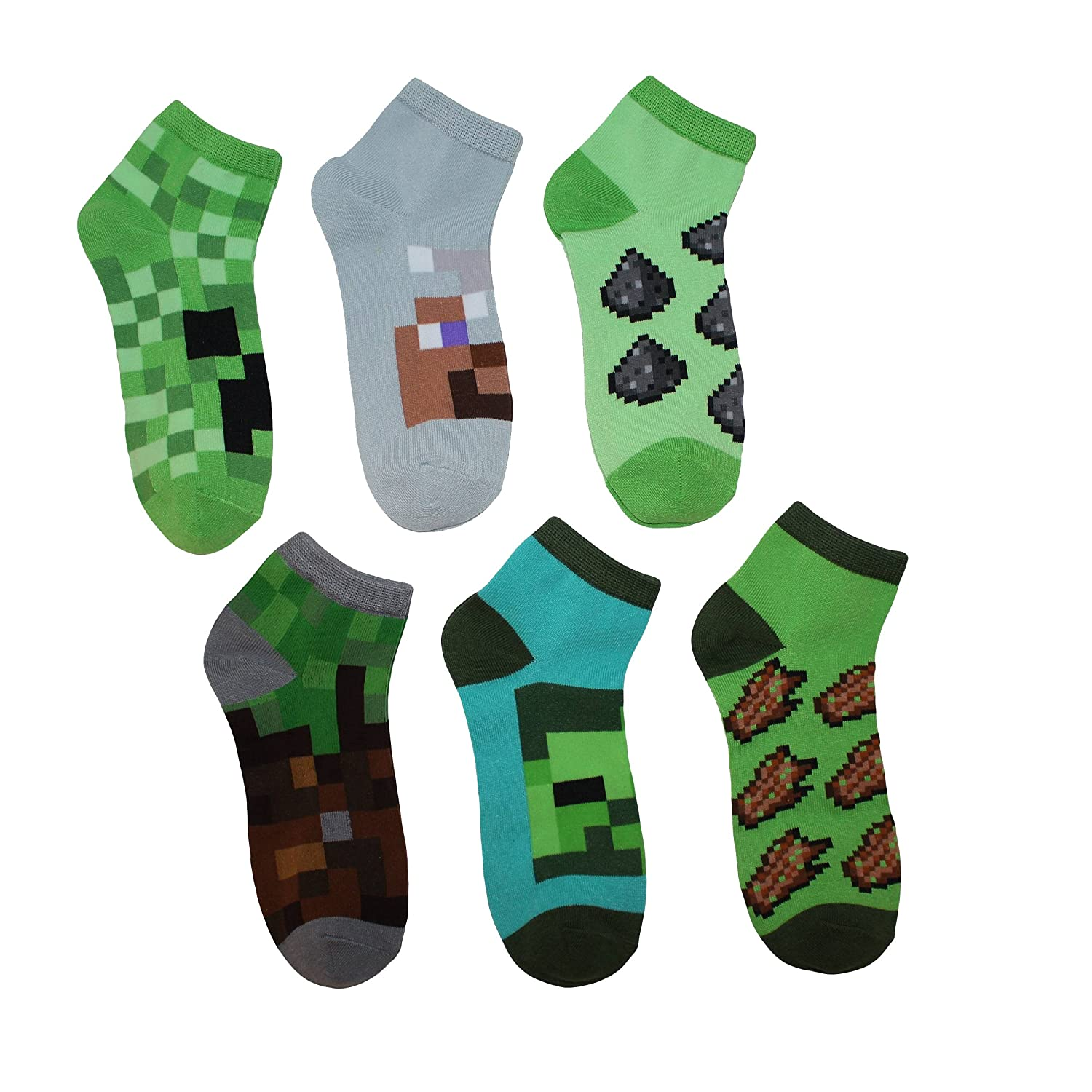 Minecraft Creeper Boys Ankle Socks 6 Pairs M/L Shoe Size 3-10