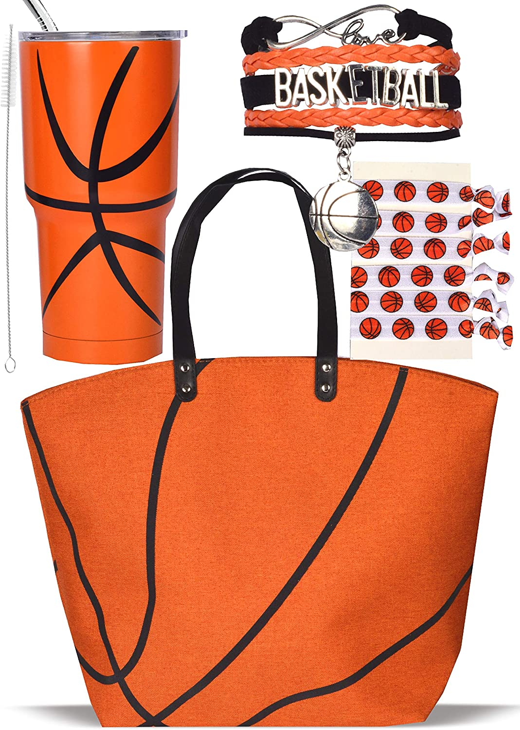 Basketball mom canvas tote bags