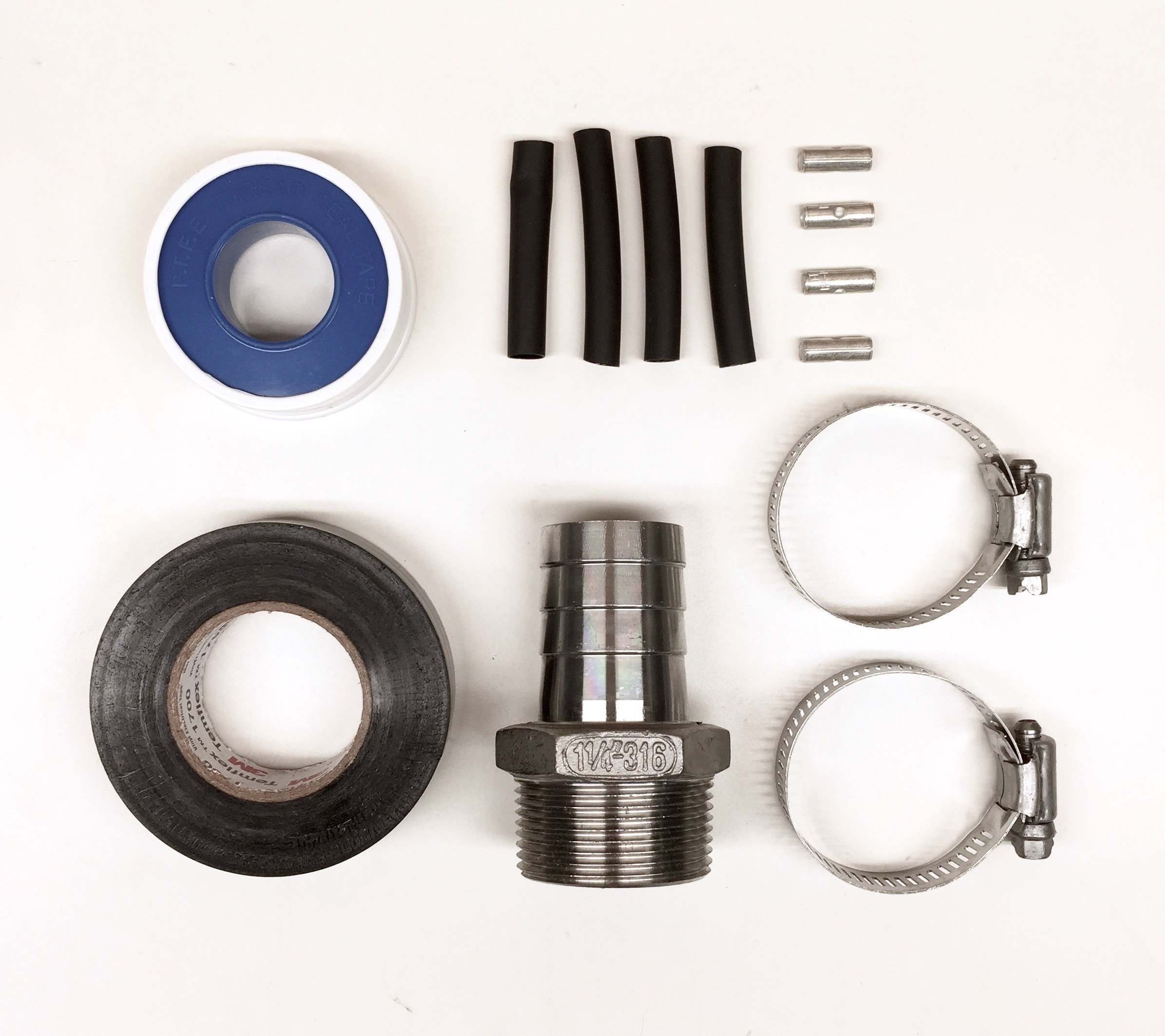 Well Pump Installation Kit with Male NPT to Hose Barb, Heatshrinks and Crimps to Splice 4 Wires - RPS Solar Pumps (Stainless Steel, 1-1/4'' Male NPT to 1-1/4'' Hose Barb)